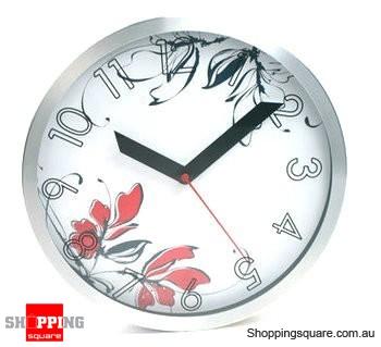 Aluminum Leisure Style 12'' Wall Clock, Silent Movement (White)