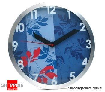 Aluminum Classical Style 12'' Wall Clock, Silent Movement (Blue)