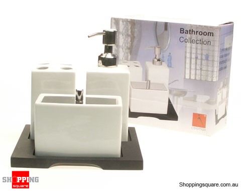 Porcelain bathroom accessories set with wood stand for Bathroom accessories stand