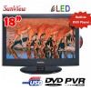 Sunview 18.5 inches (47CM) LED LCD TV, Built-in PVR,DVD Player, HD Tuner, USB, Support Car 12V Power, LG Panel