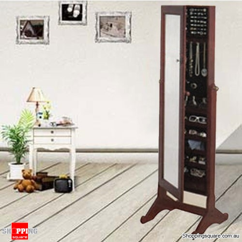 Wooden Mirrored Jewellery Full Length Cabinet - Brown Colour