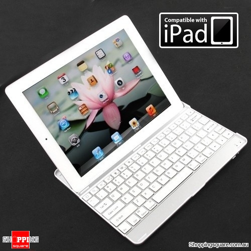 SmartBuddy Aluminum iPad Bluetooth Keyboard Case for iPad 4th, 3rd and 2nd Gen - White Key
