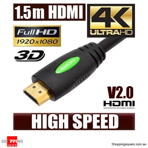 1.5M HDMI Cable v2.0 3D High Speed with Ethernet HEC 4K Ultra HD Digital Gold Plated