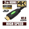 2M HDMI Cable v1.4 3D High Speed with Ethernet HEC Full HD 1080p Digital Gold Plated