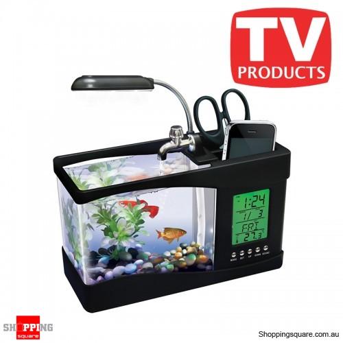 USB powered Desktop Fish Tank Aquarium with LED lights & LCD Time Display