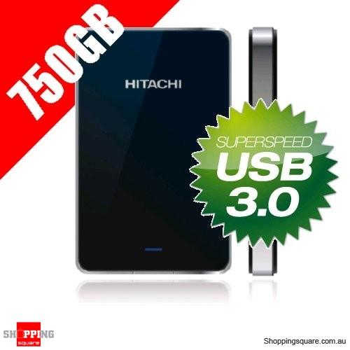 """Hitachi Touro Mobile 750GB Portable Hard Drive 2.5"""" USB3.0 - Black"""