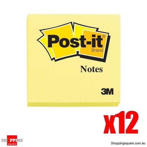 12 x 100 Sheets 3M Post-it 76x76mm Yellow-Per Sheets Per Pad
