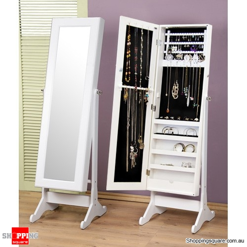 Wooden Mirrored Jewellery Full Length Storage Cabinet  White