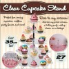 5 Tier Cupcake Display Stand - Crystal Colour - Holds 27 Cupcakes