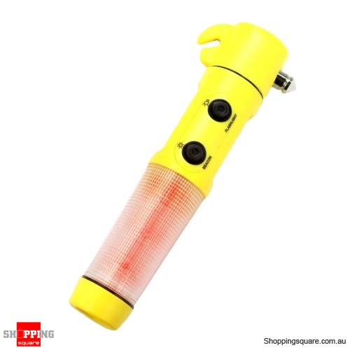 Car Safety Emergency Hammer Red Beacon Flashlight Light