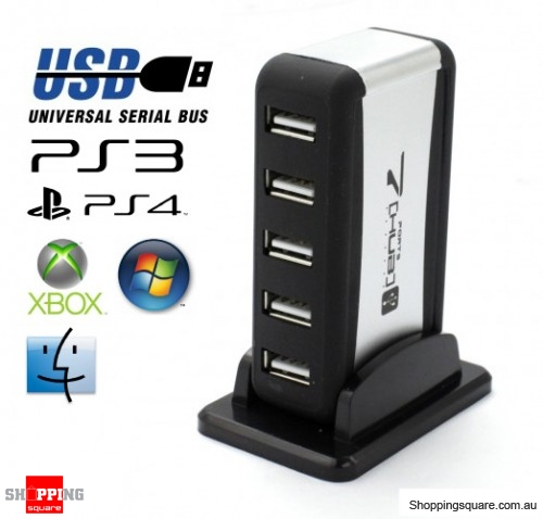 7 Port USB 2.0 High Speed HUB + USB Power Cable, suitable for PC, Mac, Xbox 360, Xbox One, PS3, PS4