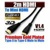 2m Ultra Premium Mini-HDMI to HDMI Cable Gold Plated V1.4 High Speed 3D Audio 1080P