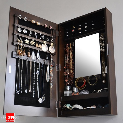 Wooden Wall Mount Mirrored Jewellery Box Cabinet Brown Colour