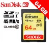 Sandisk Extreme SDXC 64GB 45MB/S Class 10 UHS-I UHS-1 HD Video Memory Card