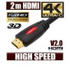 2M HDMI Cable v1.4 3D High Speed with Ethernet HEC Full HD 1080p Digital Gold Plated Red Colour
