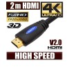 2M HDMI Cable v1.4 3D High Speed with Ethernet HEC Full HD 1080p Digital Gold Plated Blue Colour