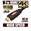 NEW 2M HDMI Cable (V2.0), High Speed with Ethernet and 4K Ultra HD, 3D function , Orange