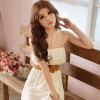 Women's Chiffon Lace Tube Dress with Flexible Belt - Apricot Colour