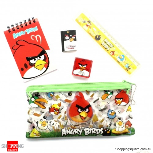 5 in 1 Pencil Case Bag Angry Bird Stationary Set - Assorted Colour