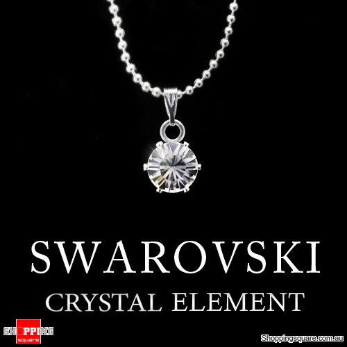 Swarovski Crystal Element Silver Ball Chain Necklace Pendant
