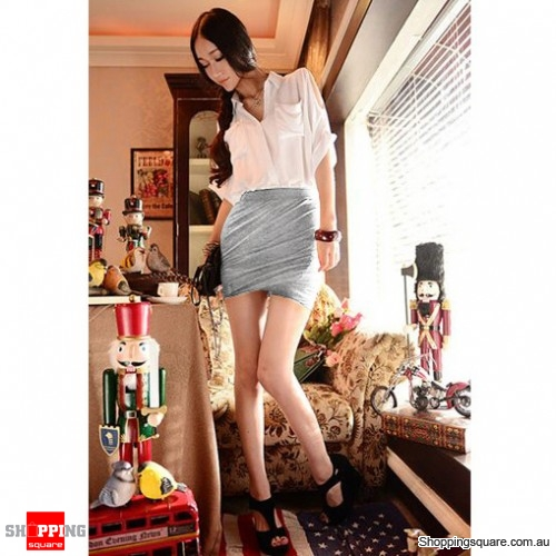 Sexy Cotton Fitted Jersey Mini Skirt Light Grey Colour - Online ...