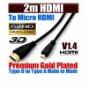 2m Ultra Premium Micro-HDMI to HDMI Cable Gold Plated V1.4 High Speed 3D Audio 1080P
