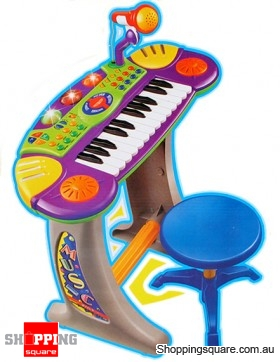 Electronic Piano Keyboard with Mic and Stool for Kids
