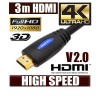 3M HDMI Cable v1.4 3D High Speed with Ethernet HEC Full HD 1080p Digital Gold Plated Blue