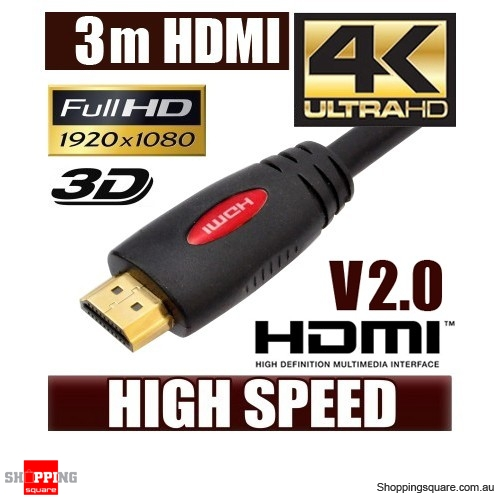 3M HDMI Cable v2.0 3D High Speed with Ethernet HEC 4K Ultra HD Digital Gold Plated  Red