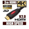 3M HDMI Cable v1.4 3D High Speed with Ethernet HEC Full HD 1080p Digital Gold Plated  Red