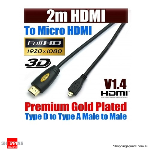 MICRO 2M HDMI Cable, High Speed with Ethernet and 1080p , 3D function ,Yellow Colour Black Word