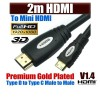 MINI 2M HDMI Cable (V1.40), High Speed with Ethernet and 1080p , 3D function ,White Colour Black Word