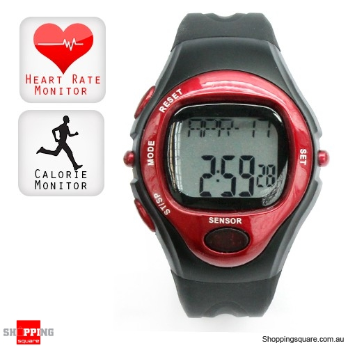 fitness pulse heart rate monitor calorie counter sports watch red