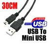 30 cm USB to Mini USB Charging data Cable Black