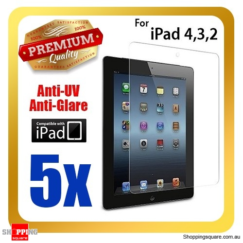 5 PCS Premium Clear Anti-UV IPAD screen protector for iPad 4th, 3th and 2nd Gen and Retina Display
