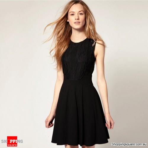 Woman\'s Lady Lace Round Collar Sleeveless Mini Dress Black Colour ...