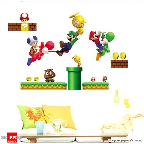 Super mario bro toy removable nursery wall stickers decal kids bedroom online shopping - Mario wall clings ...