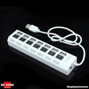 7 Port USB 2.0 High Speed HUB Sharing Switch PC White Colour