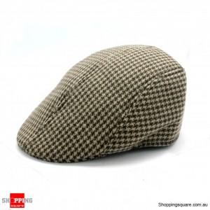 Mens Tweed Flat Cap Kakki Colour