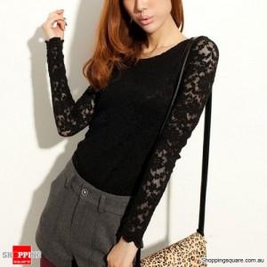 Women's T-Shirt Lace Sheer Long Sleeve Peplum Black Colour Size 10