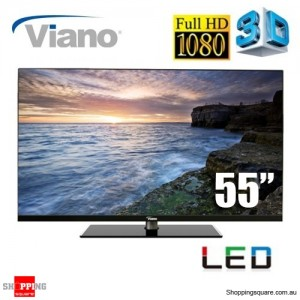 "Viano 55"" Full High Definition 1080p, 3D TV, HDMI, USB"