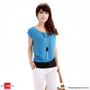 Women Crew Neck Chiffon Short Sleeves Top Blue Colour with Bonus Necklace Size 8