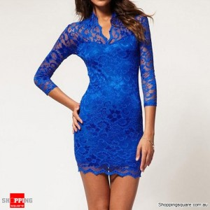 Lace Dress Scalloped Neck Sexy Slim 3/4 Sleeve Dress Blue Colour Size 12