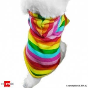 Rainbow Hoodie Coat Pet Clothes Medium Size