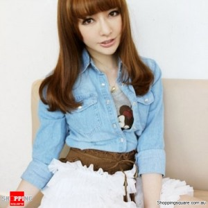 Lady Wide Elastic Stretch Fringe Lace Belt Brown Colour