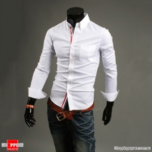 Mens Long Sleeves Basic Stretch Slim Fitted Shirt White Colour L Size