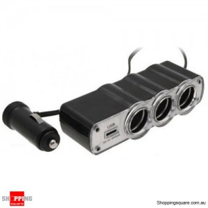 3 Way 12V Car Cigarette Charger Socket Splitter with USB