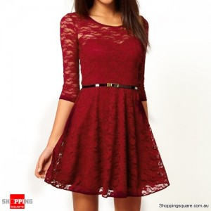 Womens Spoon Neck 3/4 Sleeve Lace Dress With Belt Size 8 Red Colour