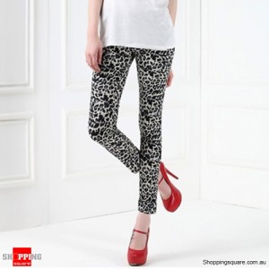 Sexy Women's Slim Leopard Print Tights Leggings Grey Colour