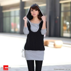 Women Cotton Tops Dress T-shirt Grey Long Sleeve Hat Hooded Coat Size 10 Black Colour